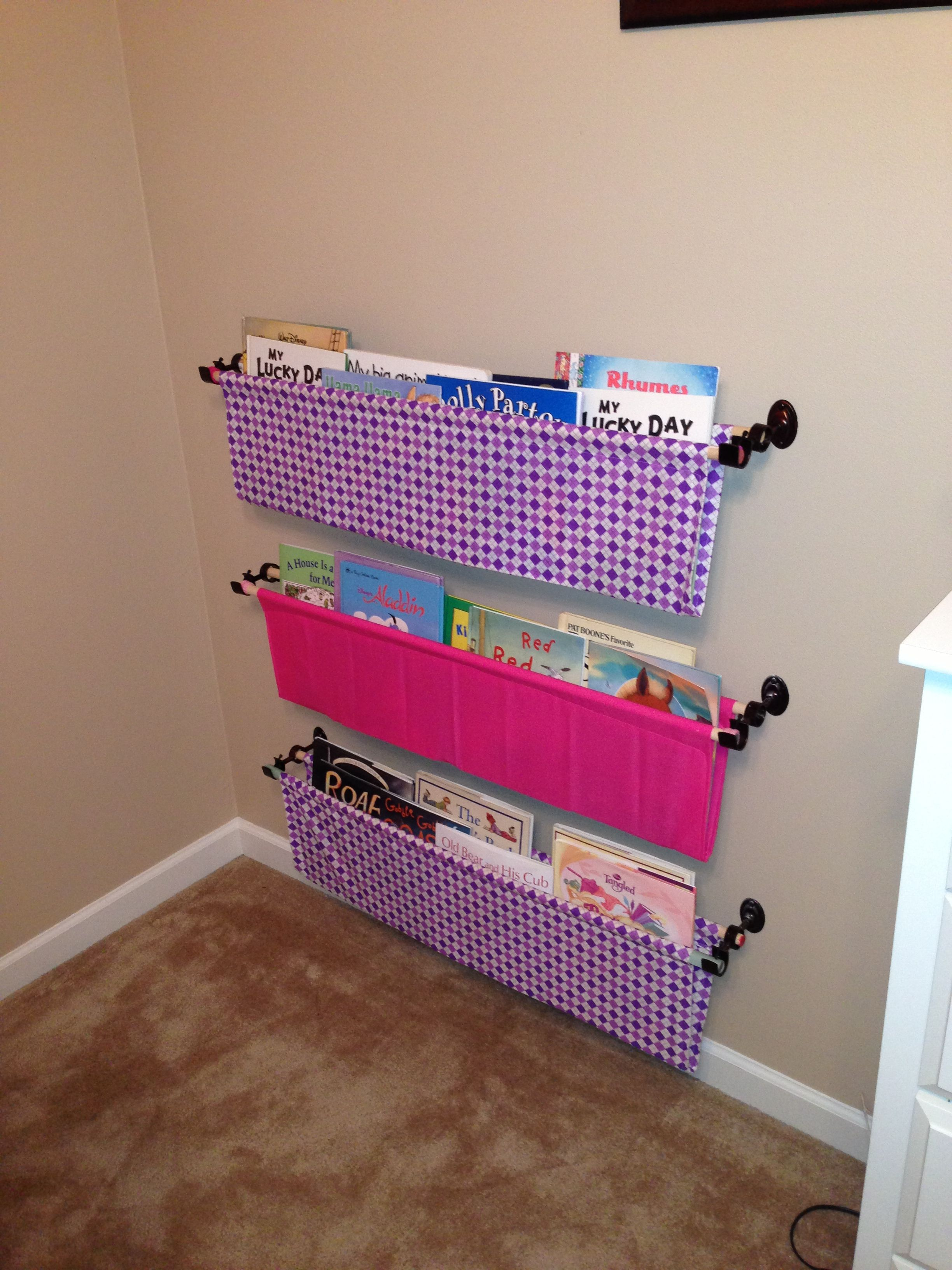 Bookshelves Made From Fabric Dowel Rods And Double Curtain Rod