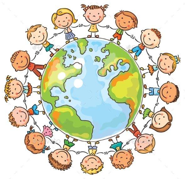 Children Round The Globe By Katya Dav Graphicriver Illustrasyonlar Piktogram Cizimler