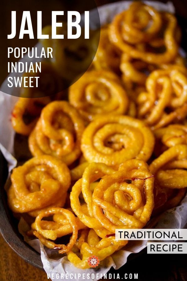 Looking for a traditional Indian sweet? Try this recipe on how to make jalebi! It's a bit like the American funnel cake where batter pipped in circles into hot oil and deep fried, but instead of soft and fluffy, these jalebis are crunchy and crisp. Once out of the oil they are dipped in sugar syrup, yum! #jalebi #streetfood #Indiansweets #authentic #Indianfood #NorthIndianfood