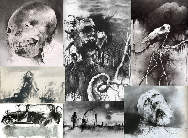 Art from Stephen Gammell, the illustrations from the Scary Stories books I used to read as a kid.