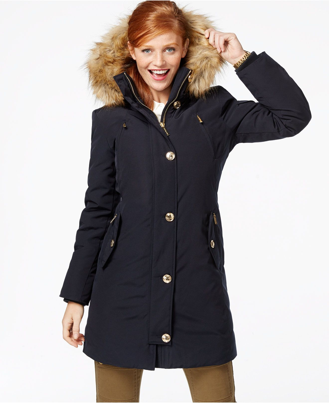 MICHAEL Michael Kors Faux-Fur-Hood Down Parka - Coats - Women ...