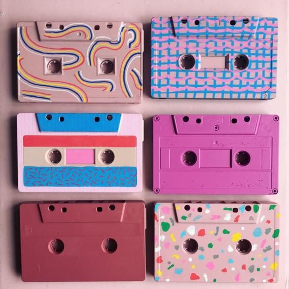 Custom pattern designed painted cassette tapes, 80s nostalgia, mini colourful artworks