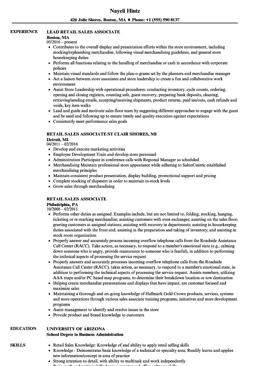 Retail Sales Associate Resume Sample How To Write A Retail Resume