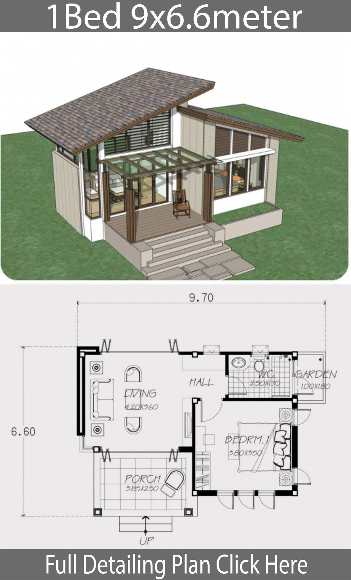 House Plans 6 5x8 5m With 2 Bedrooms Mykinglist Com Small House Style One Bedroom House Small House Design Plans