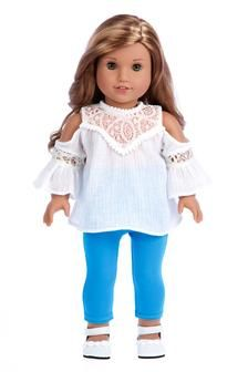 Trendy Girl - Doll Clothes for 18 Inch Dolls - 3 Piece Doll Outfit - White Cotton Blouse, Turquoise Leggings and White Shoes