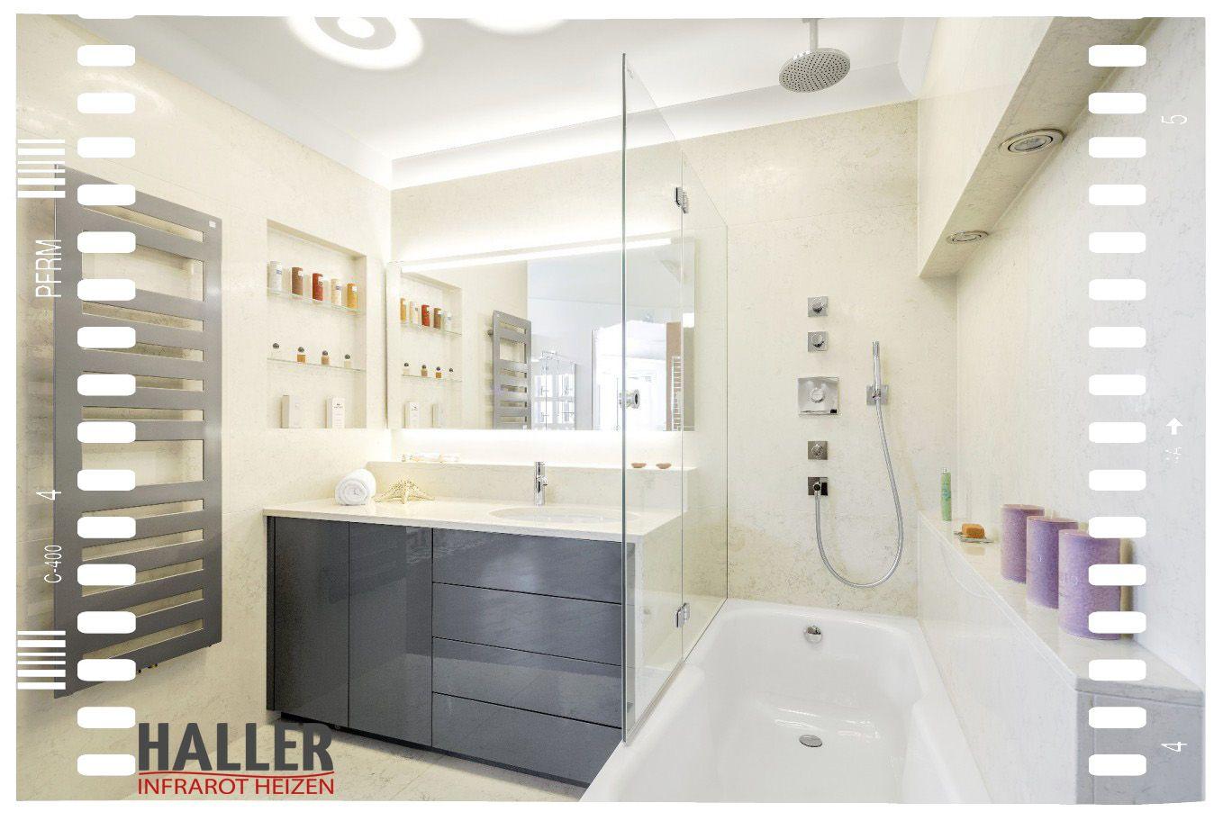 Haller Infrarotheizelemente Lassen Sich Unkompliziert Und Schnell An Der Decke Oder An Den Wanden Ihres Badezimmers Montiere Badezimmer Infrarotheizung Heizung