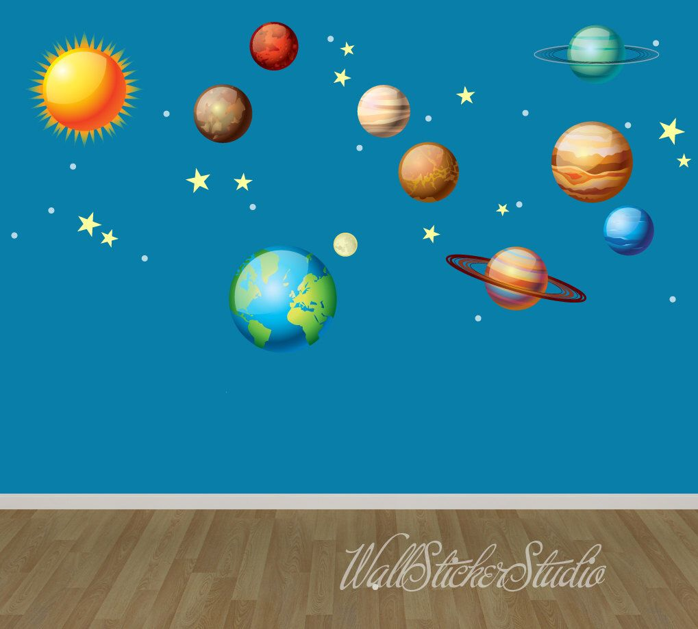 Solar System Wall Decals, Space Wall Decal Stickers, REUSABLE FABRIC DECAL  By WallStickerStudio On Part 53
