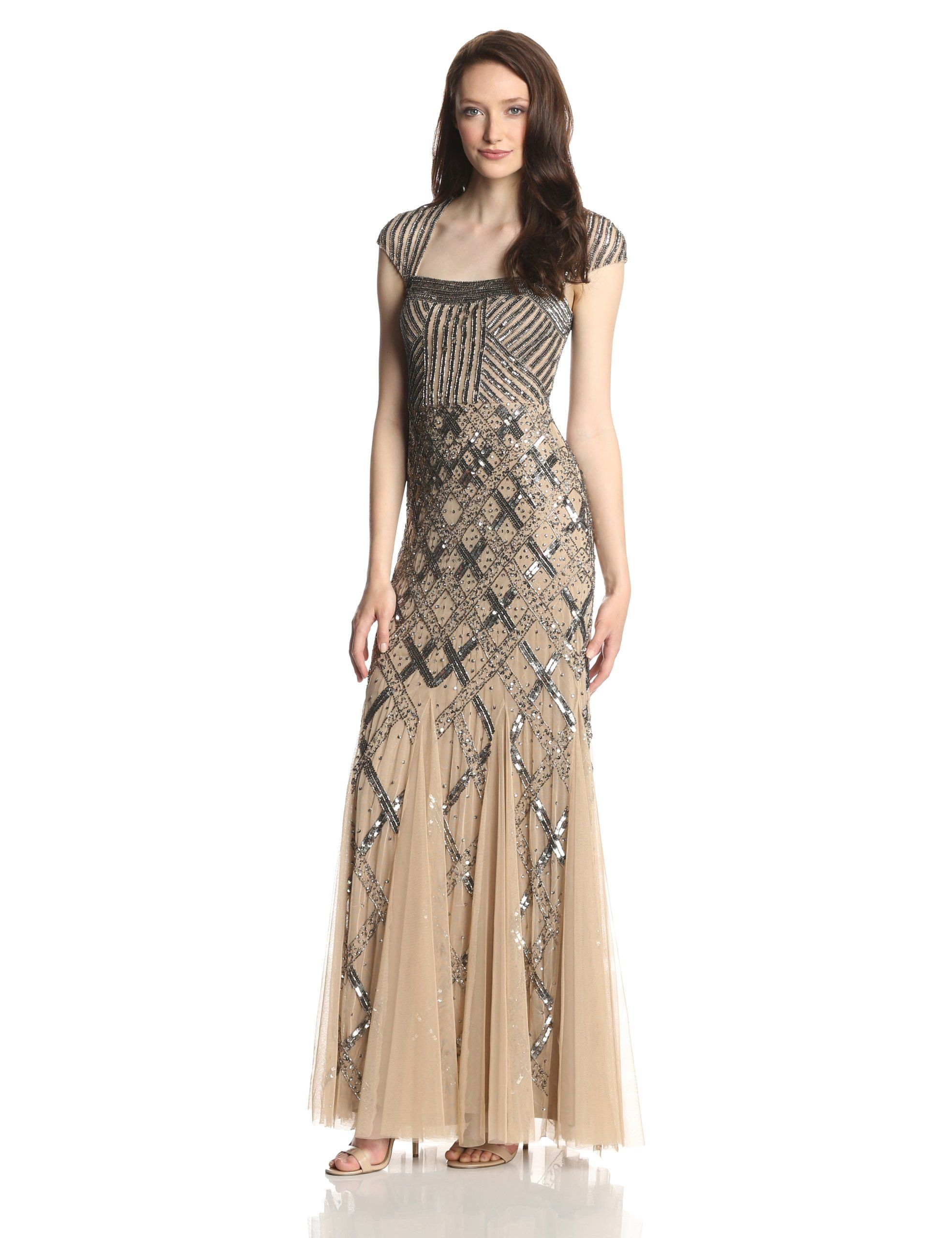 e7f153e1826 Adrianna Papell Women s Beaded Gown with Cap Sleeves at Amazon Women s  Clothing store