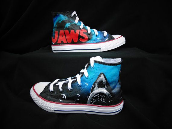 d311d838e4d3 Jaws Converse High Top Shoes by EclecticGoodsVa