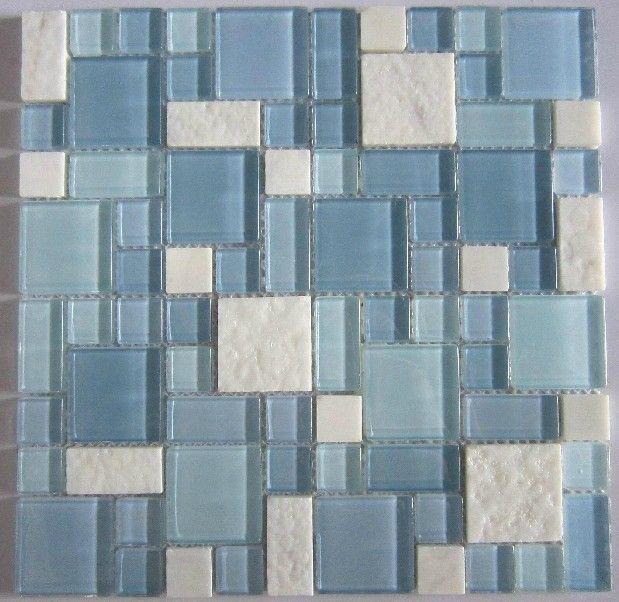 Aliexpress Com Buy Blue Glass Mosaic And White Marble Mosaic Tile Backsplash Sgmt067 M Mosaic Bathroom Tile Glass Mosaic Tiles Bathroom Glass Mosaic Bathroom