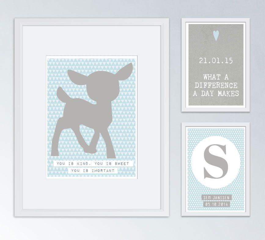 babykamer muurcollage met fotolijstjes en posters | bb ||| wall, Deco ideeën