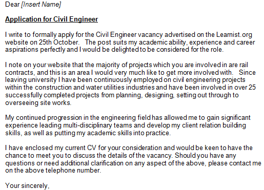 civil engineer cover letter example - Engineering Cover Letter Format