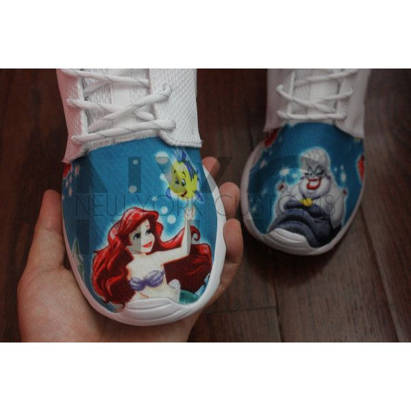 19641591b531 Nike Roshe Run White the Little Mermaid Movie Ariel v5 Edition Custom...  ( 185) ❤ liked on Polyvore featuring shoes