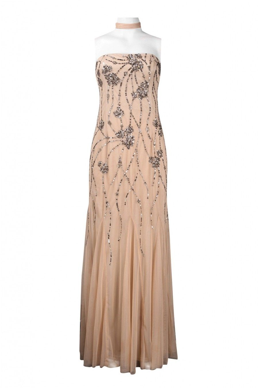 Size adrianna papell strapless sequined pattern flutter