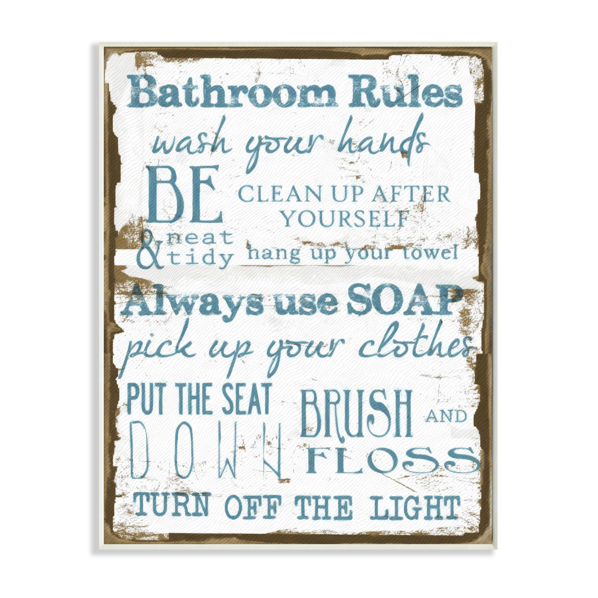 Stupell U0027Brown And Blue Classic Bathroom Rulesu0027 Wall Plaque Art By Stupell
