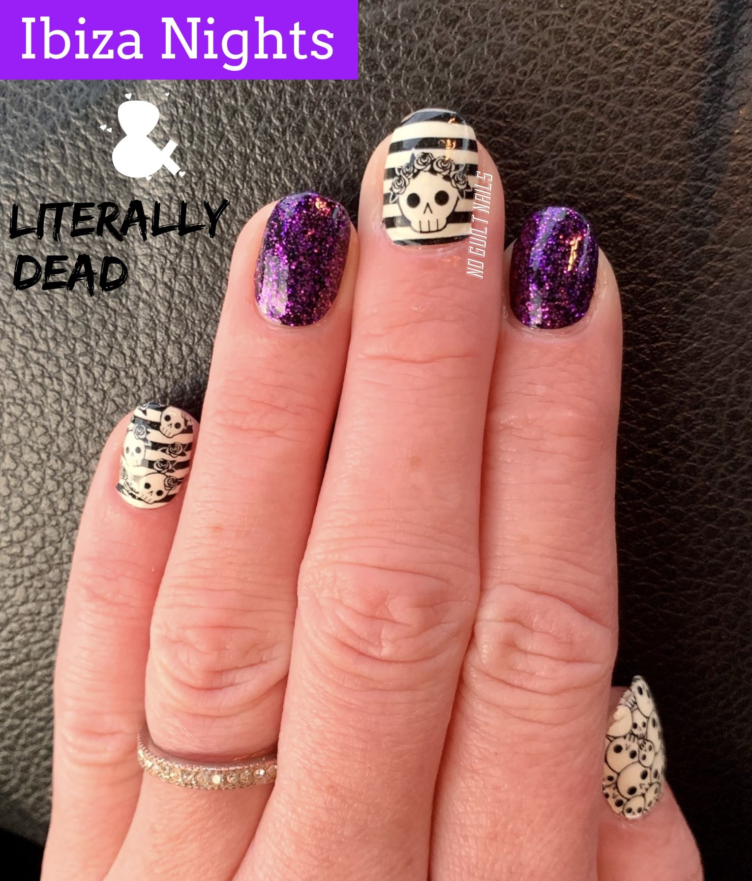 Color Street glow in the dark nails with purple glitter ...