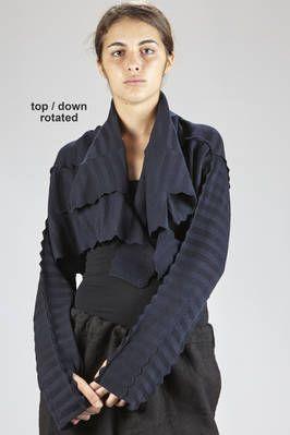 Haat | long cardigan in cotton garter, nylon and polyurethane with horizontal zig-zag patterns - HAAT