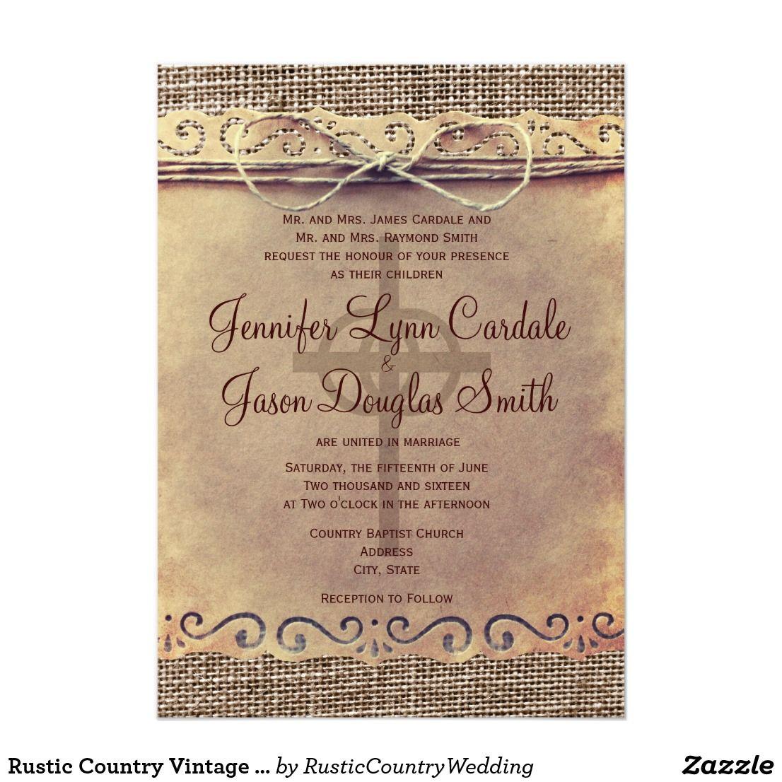Rustic Country Vintage Burlap Wedding Invitations Burlap