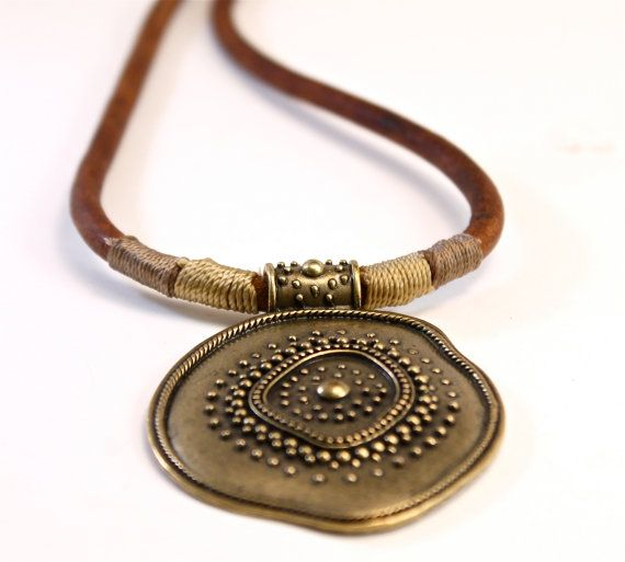 Ancient Style Bronze Pendant Leather Necklace Cool by amyfine, $49.00