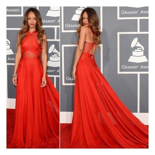 Rihanna Grammys 2013 Red Carpet Dress   Red prom dress ...