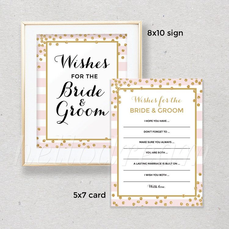 gold confetti wishes for the bride groom pink stripes bridal shower wishes card and sign gold glitter wedding shower skuhdg20 by hellodreamstudio on