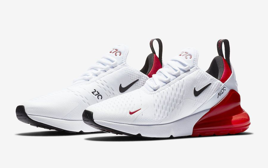 33174b3580 Details about Nike Air Max 270 White University Red Black Running ...