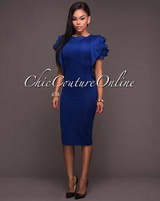 Marley Royal-Blue Rose Petal Sleeves Midi Dress  1a5b4dada269