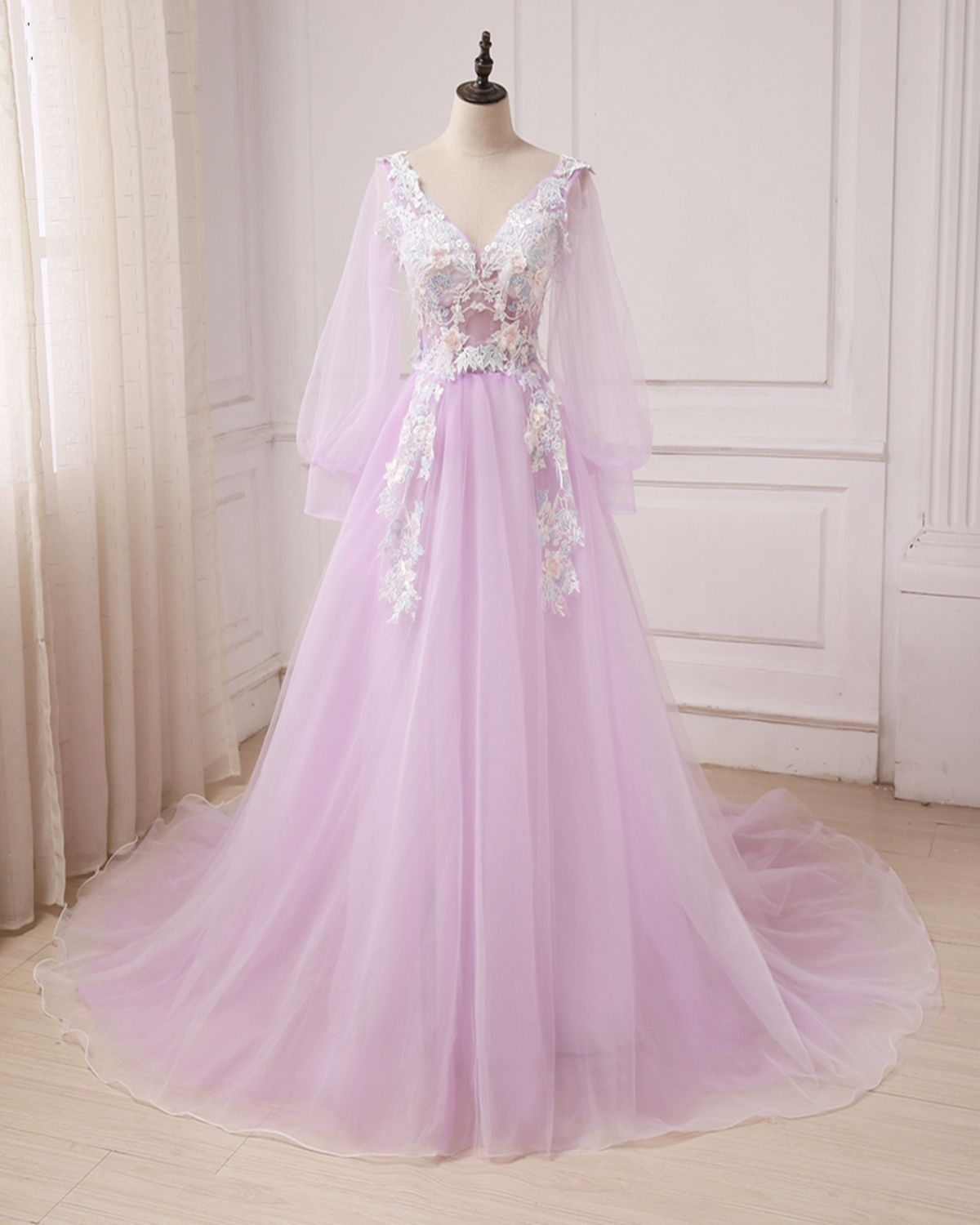 Lilac tulle v neck long sleeve aline customize prom dress long