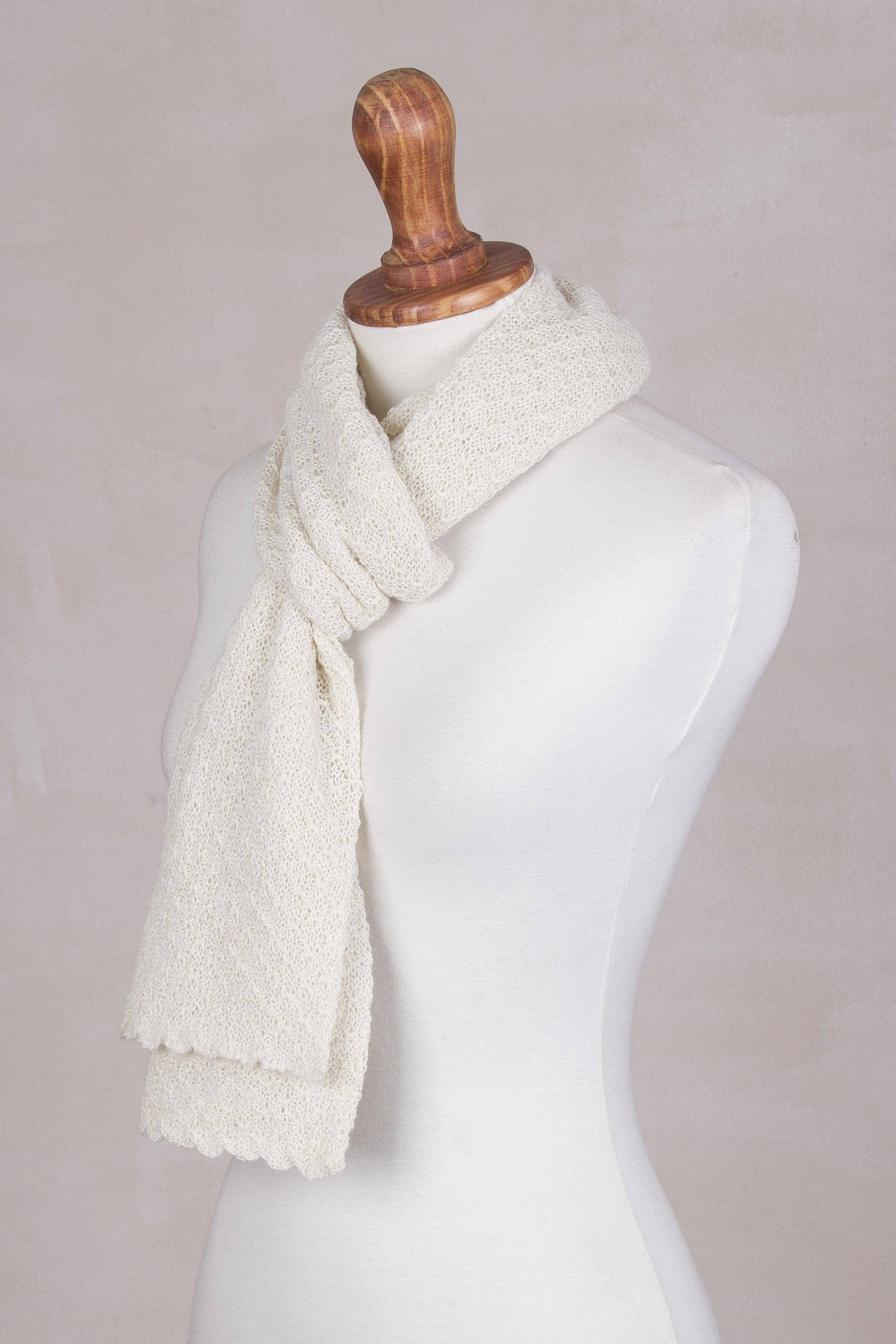 100 Baby Alpaca Scarf Solid Style In Eggshell Baby Alpaca Scarf Alpaca Scarf Baby Alpaca