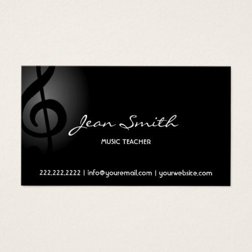 Music Teacher Elegant Dark Clef Business Card Zazzle Com Musician Business Card Teacher Business Cards Music Business Cards