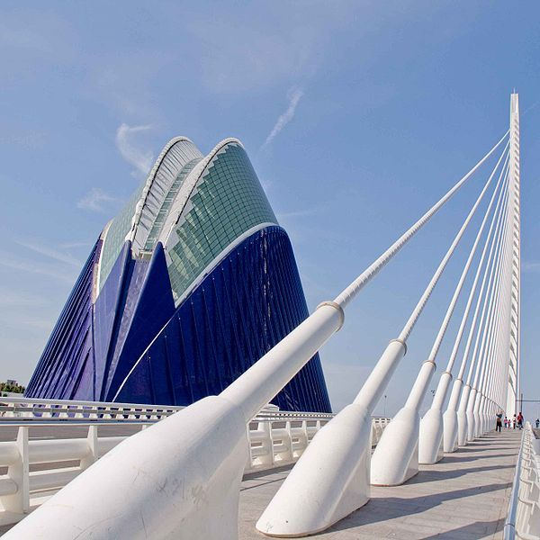 El Agora arena and El Puente de l'Assut de l'Or suspension bridge, Valencia, Spain