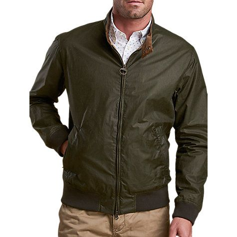 Barbour Royston Waxed Cotton Lightweight Harrington Jacket, Archive Olive |  Harrington jacket and Barbour