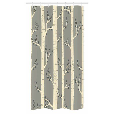Grey Stall Shower Curtain, Birch Tree Branches Vintage Bohemian ...