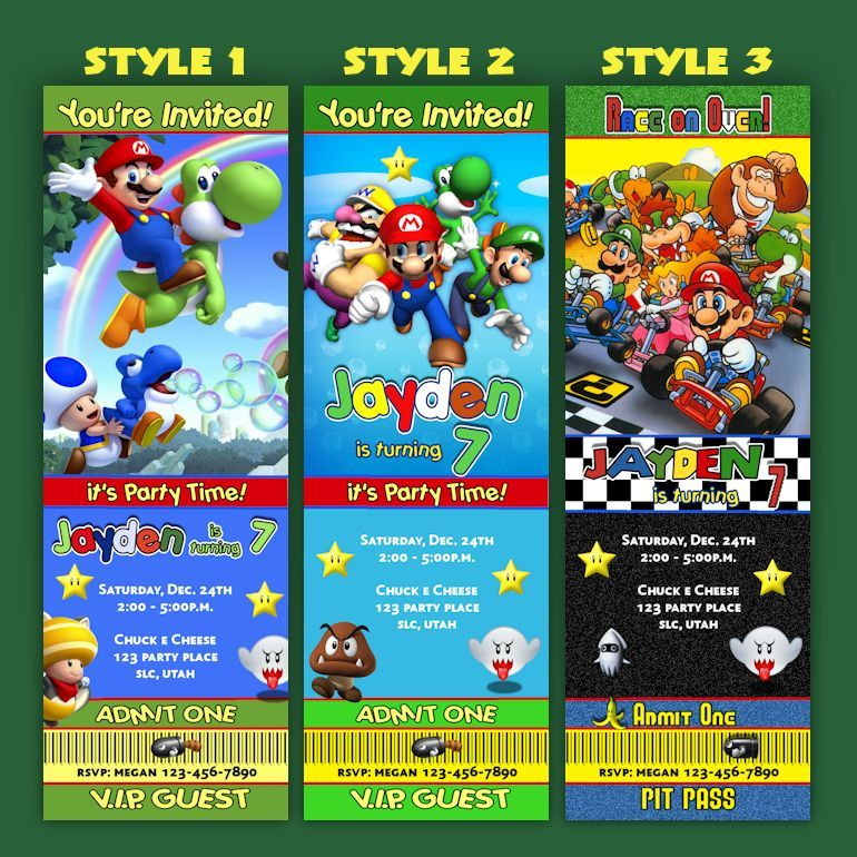 Super mario Brothers Birthday Invitation tickets - Mario Cart ...