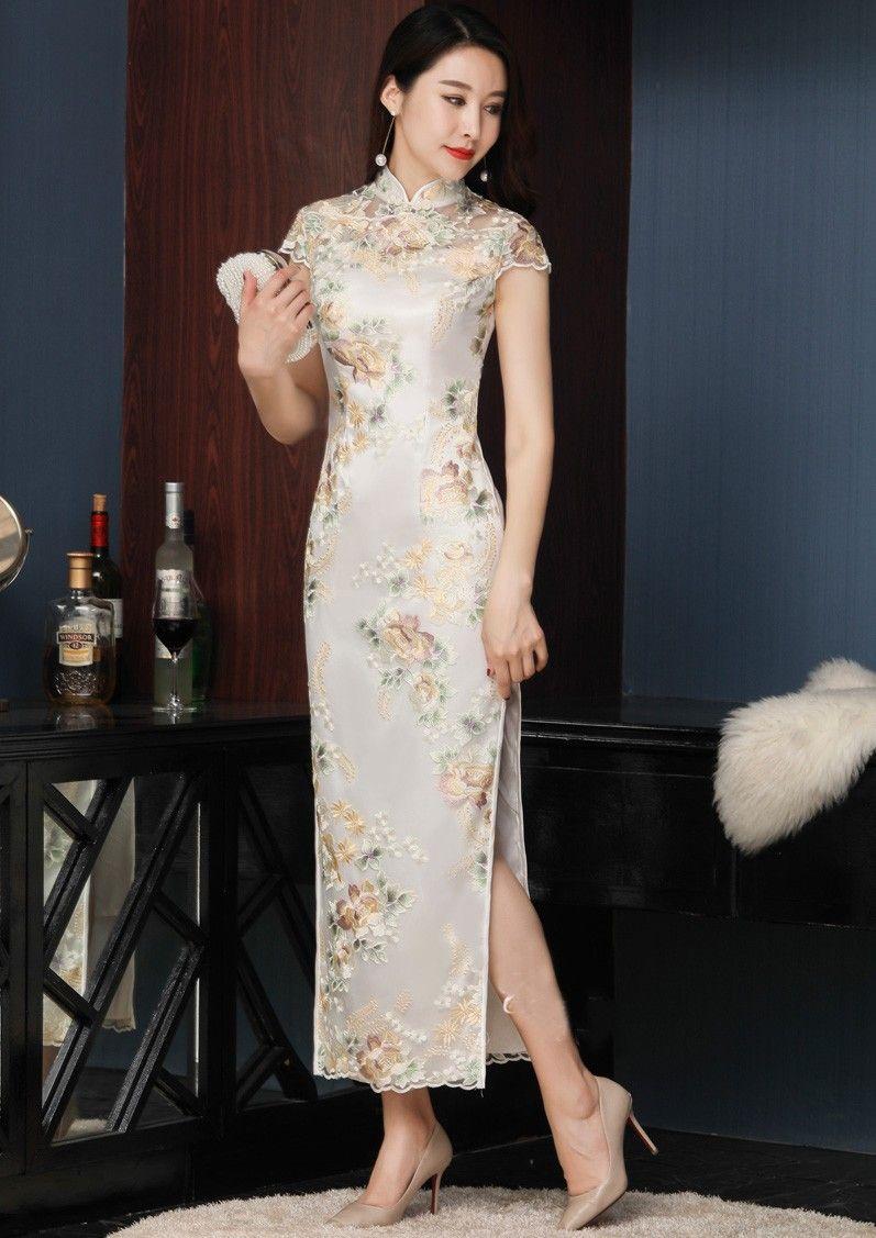 Embroidered Long Qipao Cheongsam Evening Dress Cozyladywear Traditional Chinese Dress Asian Style Dress Chinese Dresses Qipao [ 1127 x 797 Pixel ]