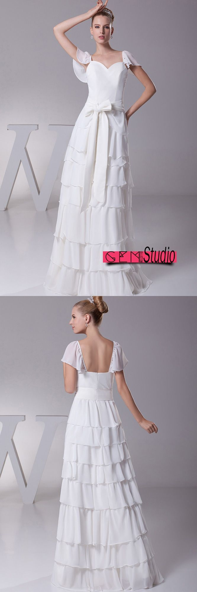 Sweetheart layered sash white bridal dress with cap sleeves op