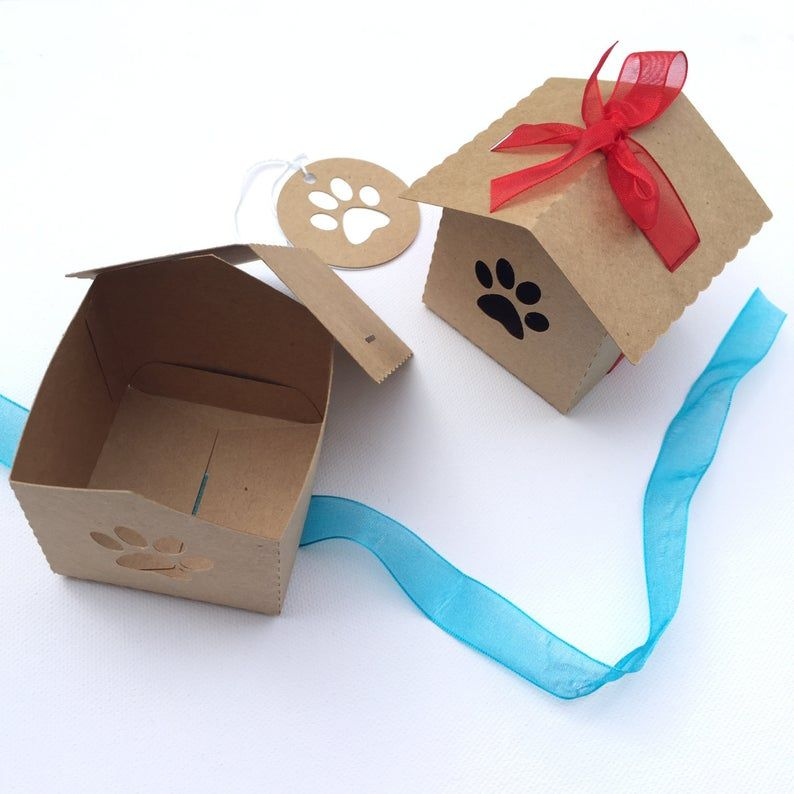 Kraft dog paw dog house gift boxes party favors. Pet