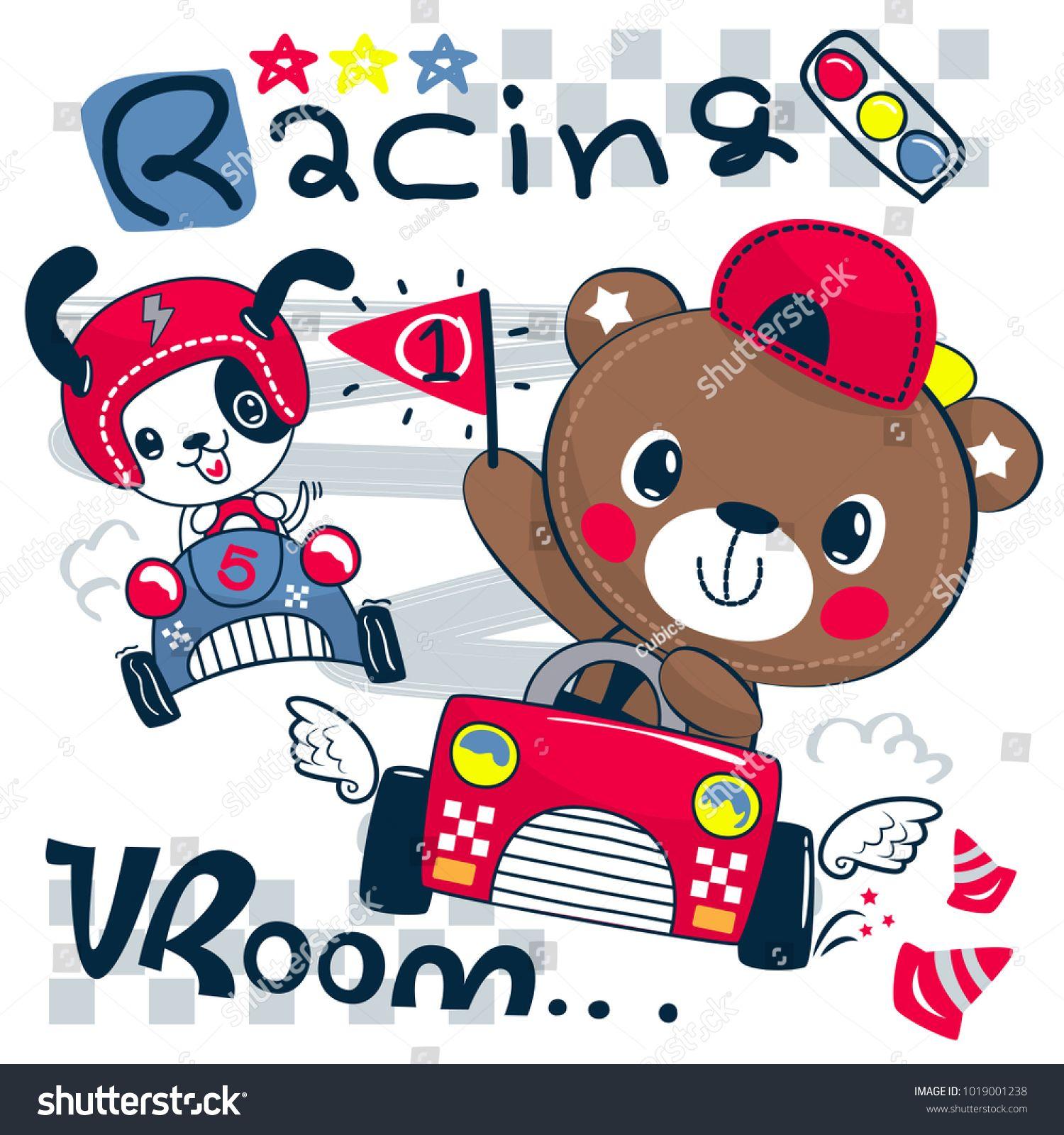 Cute Teddy Bear Cartoon Driving Race Car Holding A Number One Flag