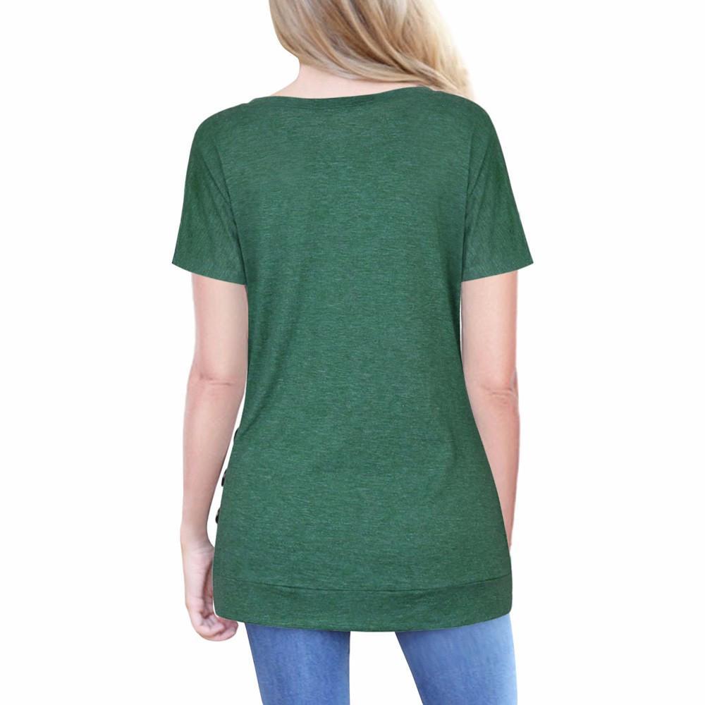 Women Short Sleeve Loose Button Trim Blouse Solid color
