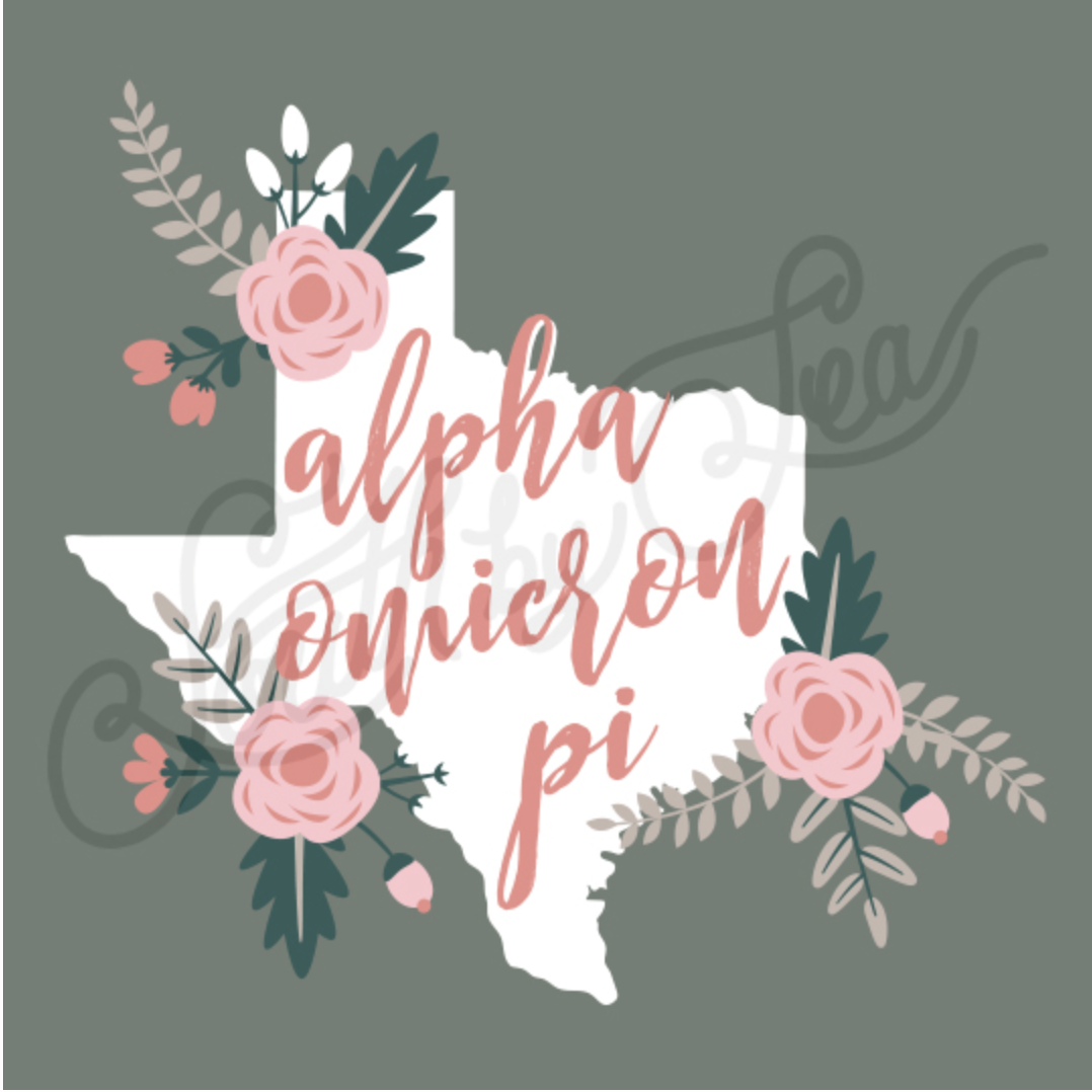 Alpha Omicron Pi | AOII | Texas State | Floral Design | Bid Day | Recruitment | Sisterhood | South by Sea | Greek Tee Shirts | Greek Tank Tops | Custom Apparel Design | Custom Greek Apparel | Sorority Tee Shirts | Sorority Tanks | Sorority Shirt Designs