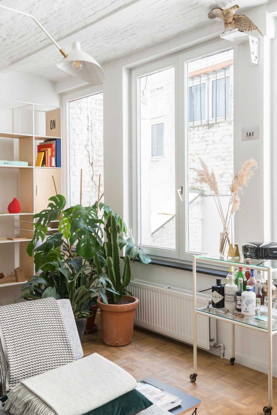 Witte woonkamer met groene planten | White living room with green ...
