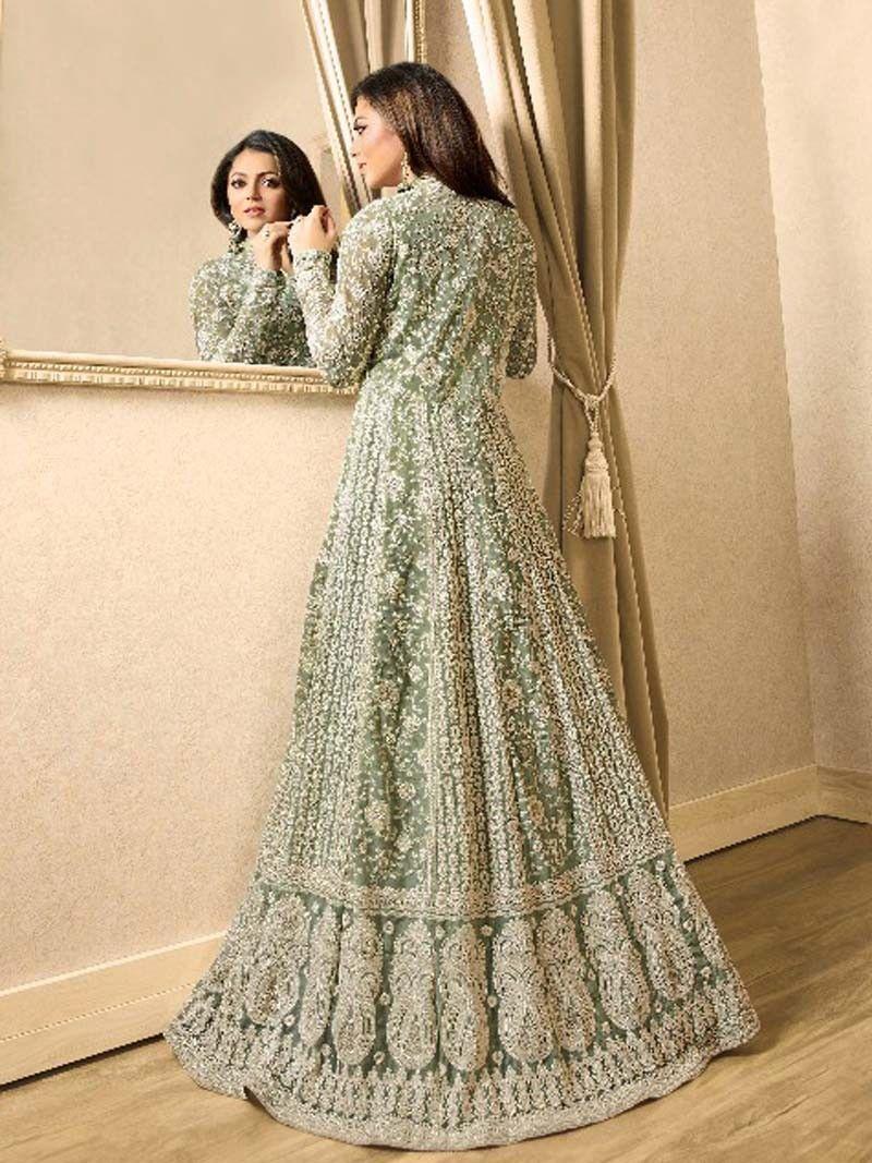 Olive Green Color Latest Pakistani Long Wedding Eid Special Anarkali Anarkali Suits Muslim Dress Suits Series