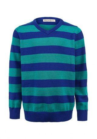Мягкий джемпер Sela - сочетание качества и доступной цены. Модель создана из хлопкового трикотажа в сине-зеленую полоску. Детали: прямой крой, V-образный вырез, нижняя часть и манжеты оформлены в рубчик. http://j.mp/1rHrdaj