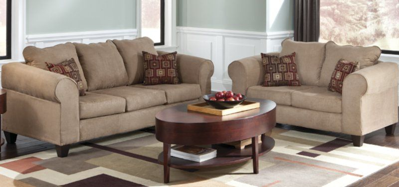 Best Taupe Fabric Covered Sofa And Loveseat Living Room Set 400 x 300