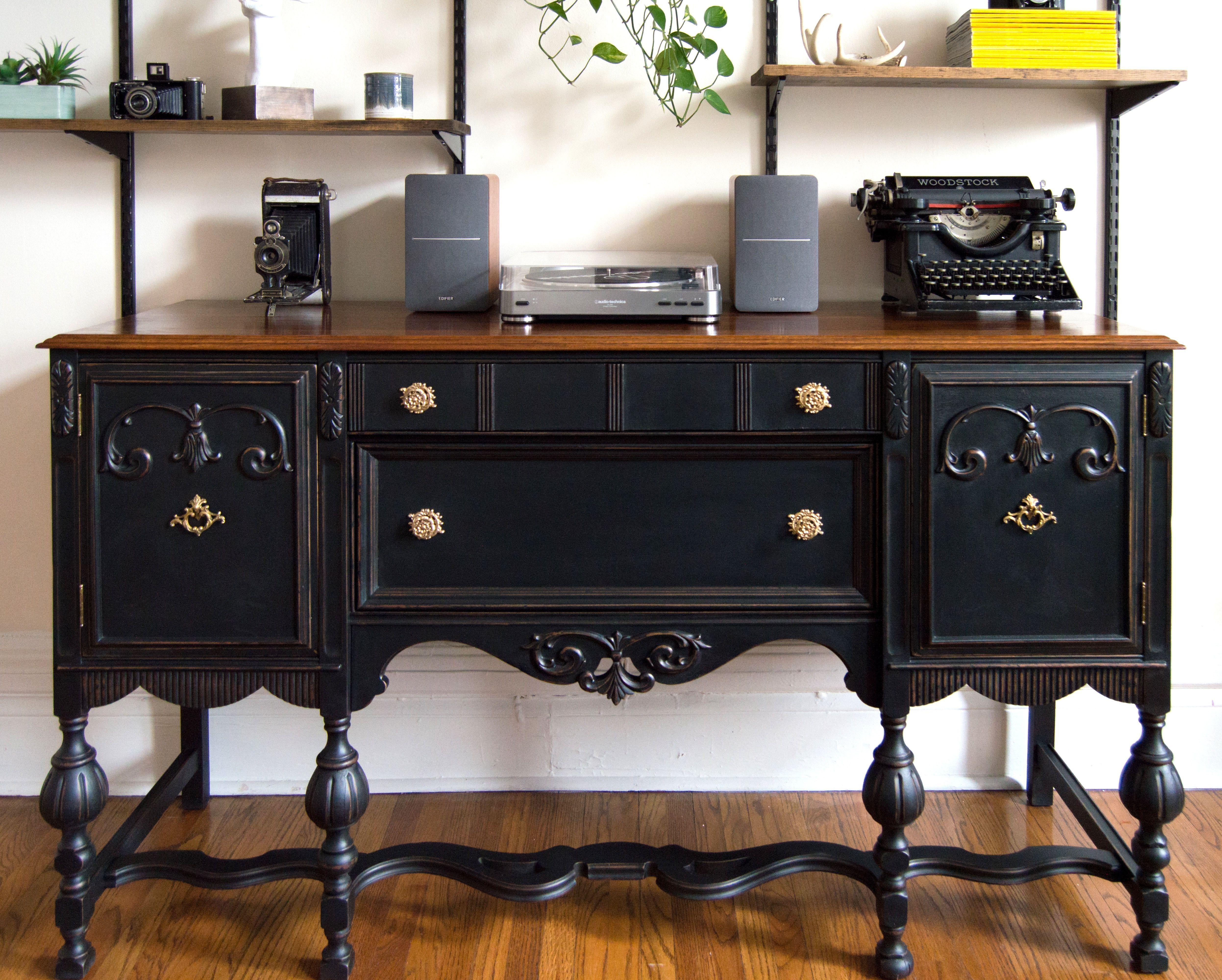 Antique Buffet Restoration Using Black Chalk Paint Antiquing Furniture Diy Furniture Diy Furniture Makeover