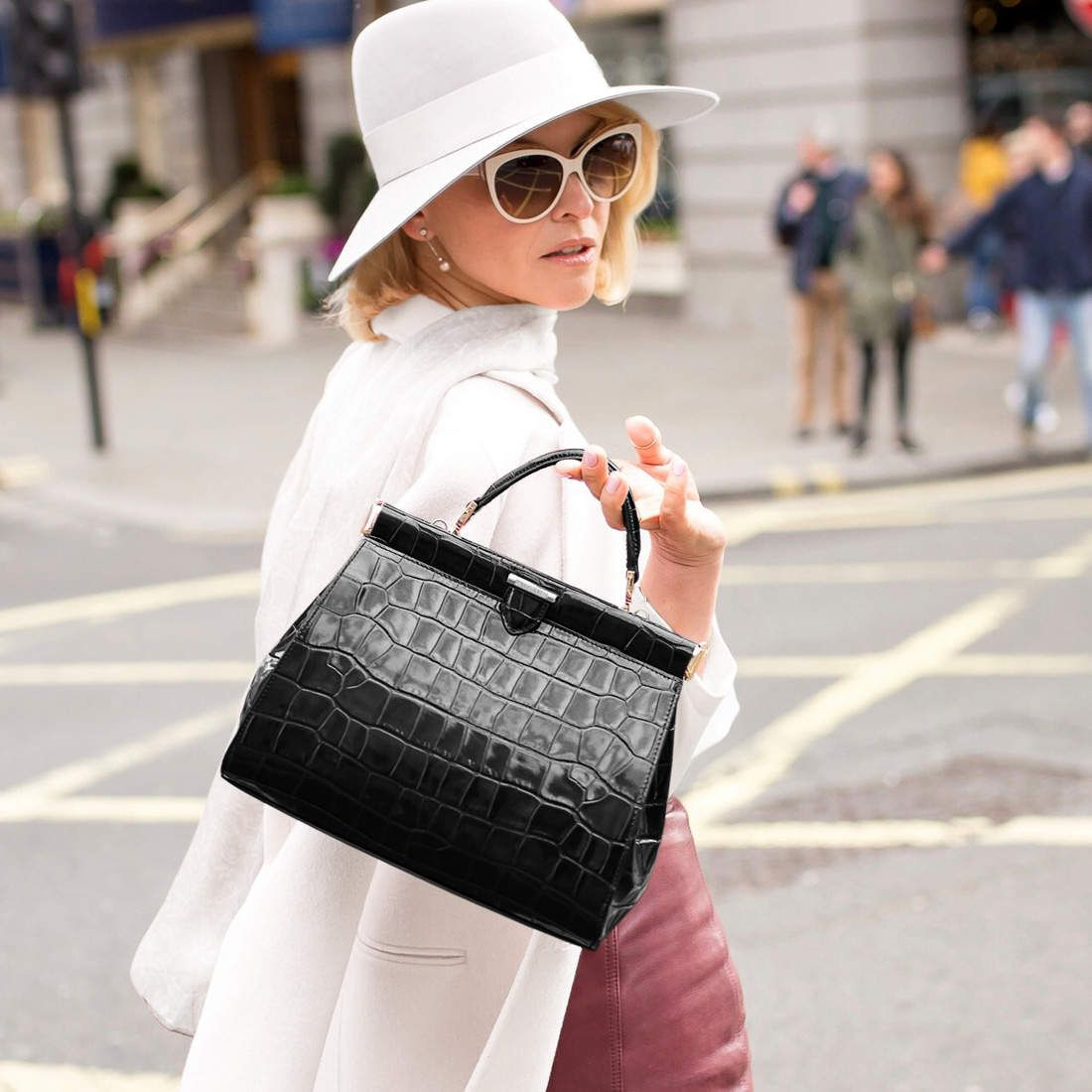 Large Florence Frame Bag in Deep Shine Black Croc from Aspinal of London 44a28851c92