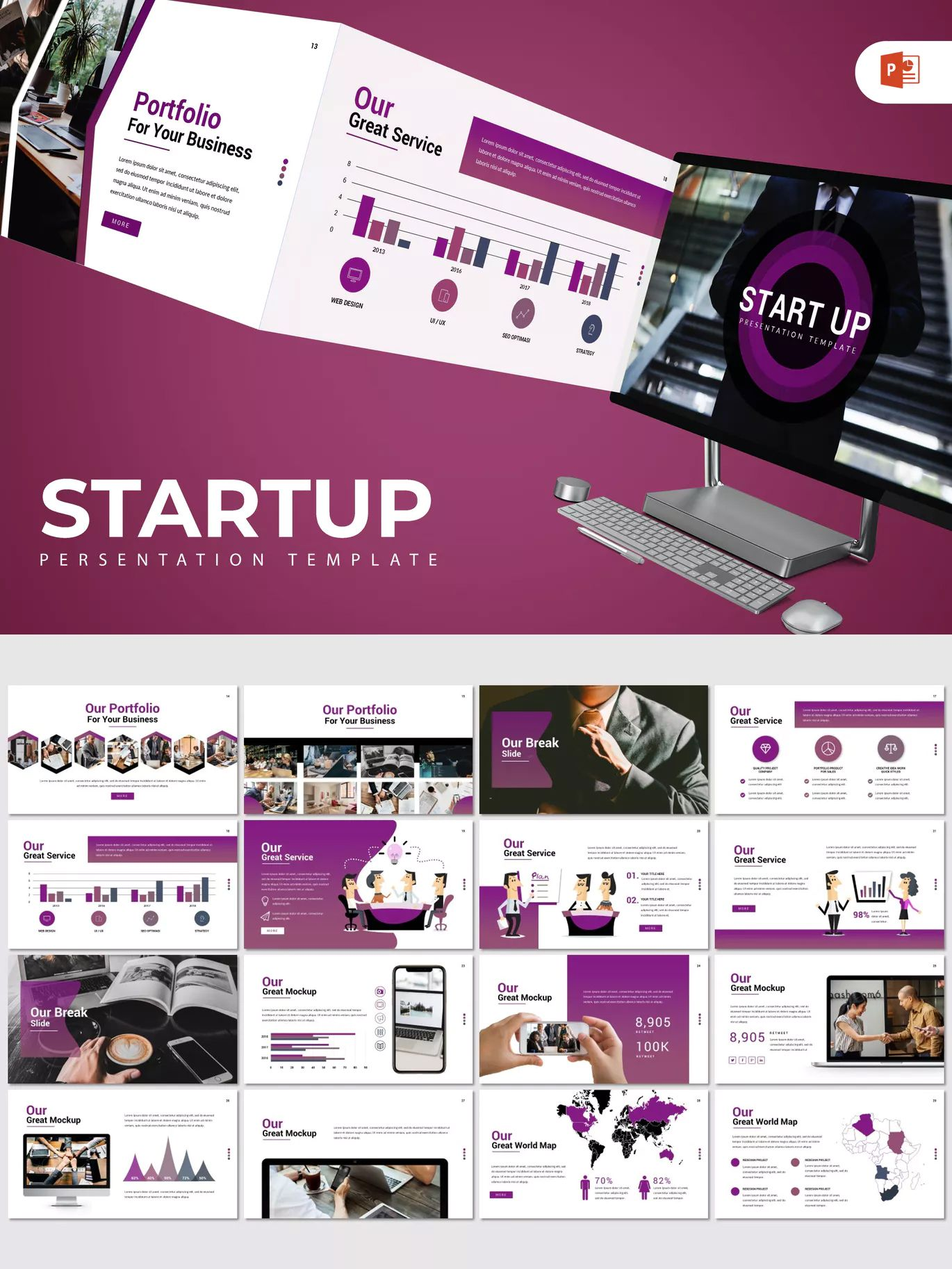 startup powerpoint presentation template 30 modern creative