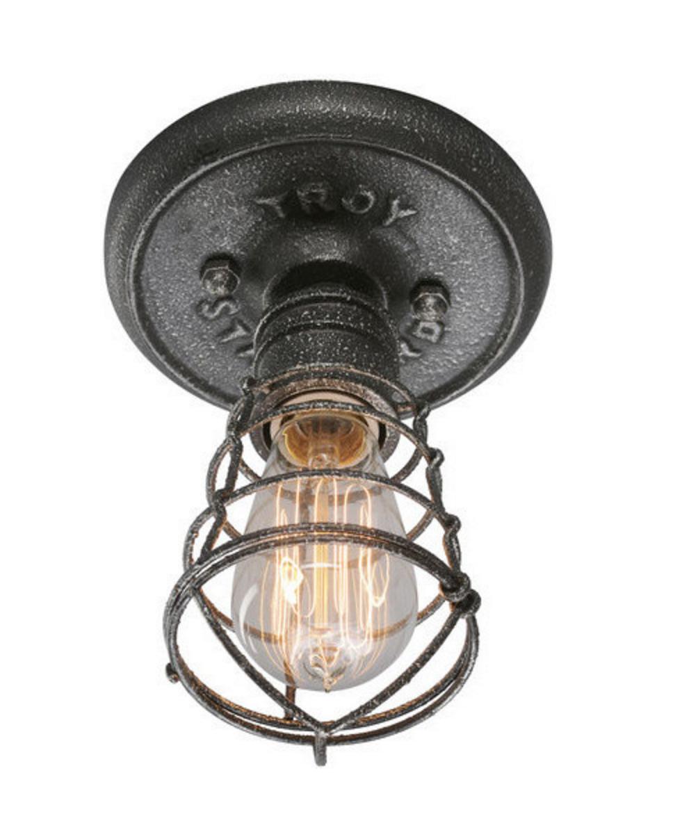 Conduit 1 light flush mount ceiling fixture wrought iron houzz