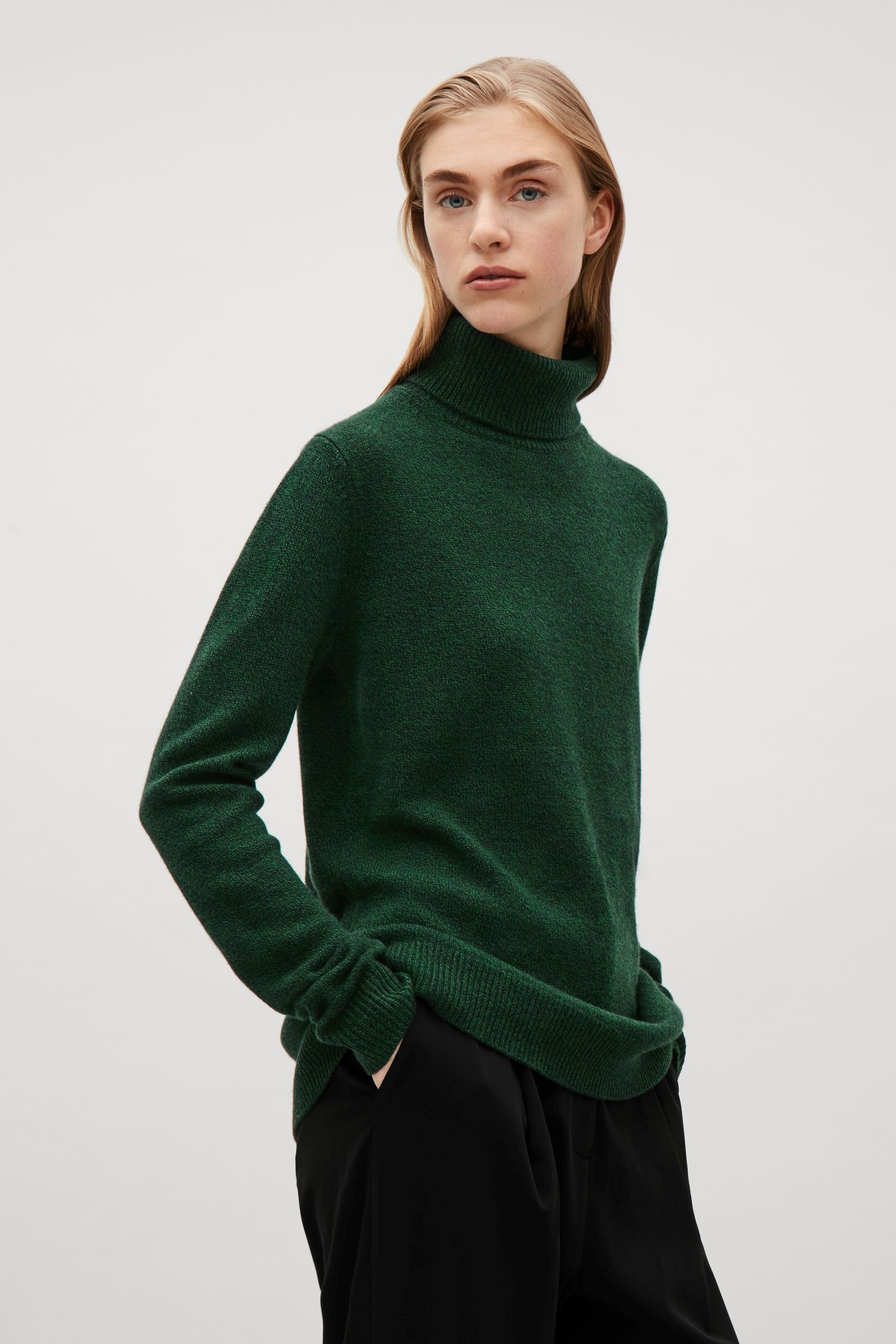 b050237aed COS cashmere roll-neck jumper in Bottle Green