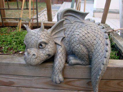 Ars-Bavaria Edge-Sitting Dragon Figure Gargoyle Garden Ornament
